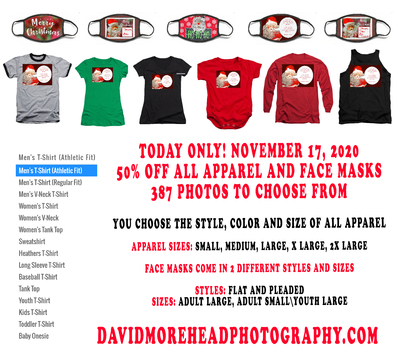 All Apparel And Face Masks 50 Percent Off Today, November 17, 2020